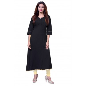 Anarkali Flared Long Kurta and Printed Legging Set - Black