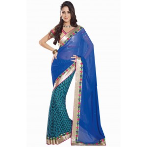 Charu Boutique Appealing Blue Half N Half Saree