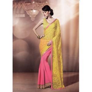 Yellow Peach Georgette Saree