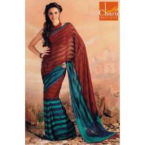 Red Blue Chiffon Striped Saree