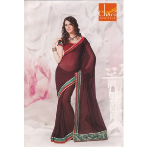 Wine Semi Chiffon Saree