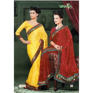 Yellow Red Silk Saree