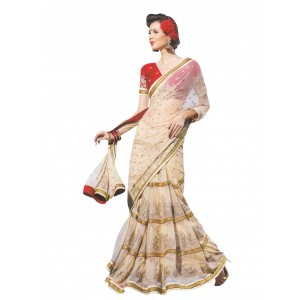 Off White Net Saree