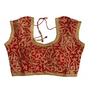 Charu Boutique Designer Red Stitched Velvet Saree Blouse