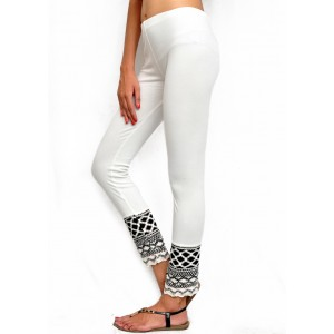 Off White Cotton Ankel Length Crochet Knitted Legging