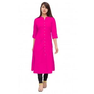 Princess Cut Linen Formal Wear Pink Long Kurta