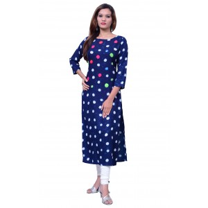 Rayon Women's Long Blue Embroidered Kurti