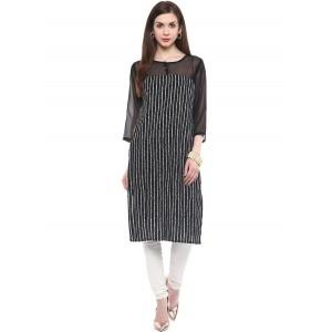 Charu Boutique Black Straight Cut Printed women's Cotton Kurti