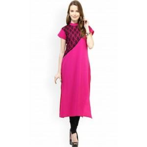 Charu Boutique Rani Pink Straight Cut Rayon Kurti