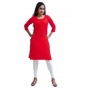 Charu Boutique RED  Formal Solid Women's Kurta