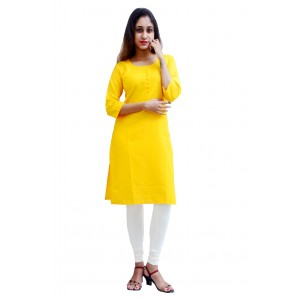 Charu Boutique SUNNY YELLOW  Formal Solid Women's Kurta
