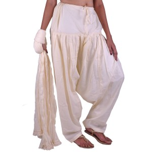 OffWhite Cotton Patiala and Dupatta Set