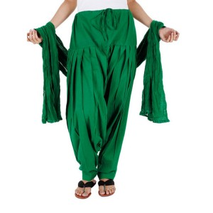 Green Cotton Patiyala and Dupatta Set