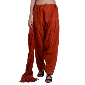 Deep Rust Cotton Patiyala and Dupatta Set