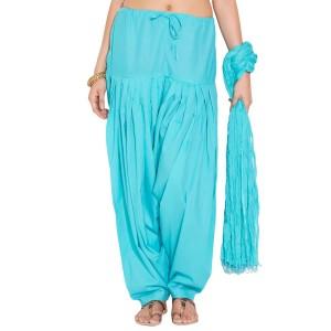 Sky blue Cotton Patiyala and Dupatta Set