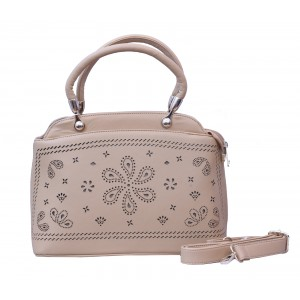 Beige Cutwork Women's Handbag