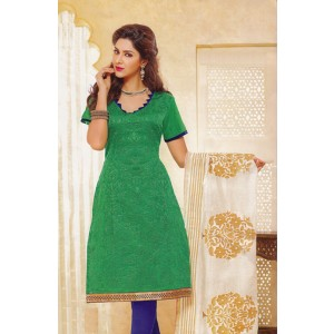 Green Blue Cotton Dress Material