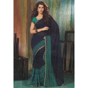 Nevy Blue Fine Chiffon With Real Border Saree