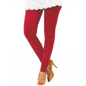 Deep Red Women's Cotton Leggings
