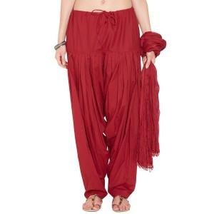 Deep Red Cotton Patiyala and Dupatta Set