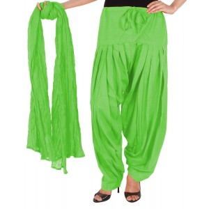 Lemon Green Cotton Patiyala and Dupatta Set
