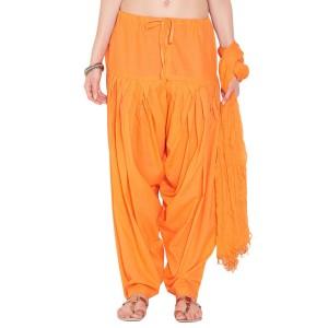 Orange  Cotton Patiyala and Dupatta Set