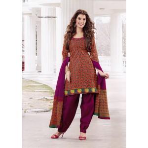 Orange Rani Cotton Printed Dress Material