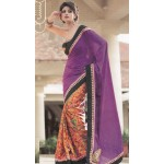 Purple Orange Semi Georette Saree