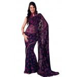 Teal Blue Rani Printed Chiffon Saree