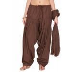 Brown Cotton Patiyala and Dupatta Set