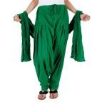 Green Cotton Patiyala and Dupatta Set