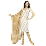 Charu Boutique Off White Cotton Printed Dress Material